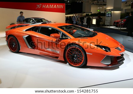 FRANKFURT - SEPT 10: Lamborghini Aventador Hamann Nervudo shown at the 65th IAA (Internationale Automobil Ausstellung) on September 10, 2013 in Frankfurt, Germany. - stock photo