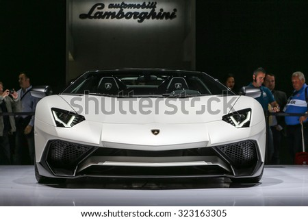 FRANKFURT - SEPT 15: Lamborghini Aventador LP 750-4 SV Roadster shown at the 66th IAA (Internationale Automobil Ausstellung) on September 15, 2015 in Frankfurt, Germany.
