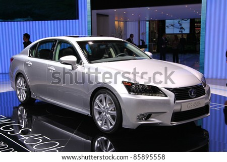 FRANKFURT - SEPT 13: LEXUS GS 450H HYBRID DRIVE shown at the 64th IAA (Internationale Automobil Ausstellung) on September 13, 2011 in Frankfurt, Germany. - stock photo