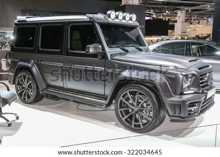 FRANKFURT - SEPT 16: Mansory Mercedes-Benz AMG G-CLASS  shown at the 66th IAA (Internationale Automobil Ausstellung) on September 16, 2015 in Frankfurt, Germany. - stock photo