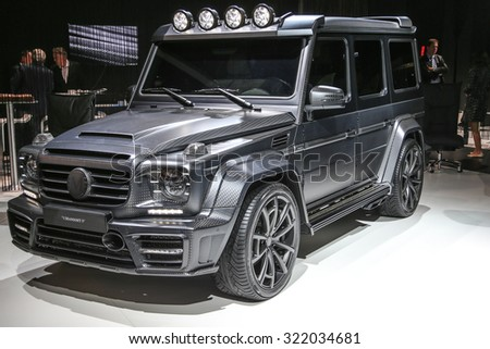 FRANKFURT - SEPT 15: Mansory Mercedes-Benz AMG G-CLASS  shown at the 66th IAA (Internationale Automobil Ausstellung) on September 15, 2015 in Frankfurt, Germany. - stock photo