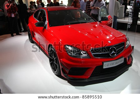 FRANKFURT - SEPT 13: Mercedes Benz C 63 AMG Black Series shown at the 64th IAA (Internationale Automobil Ausstellung) on September 13, 2011 in Frankfurt, Germany.