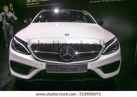 FRANKFURT - SEPT 16: Mercedes Benz C-Class Coupe shown at the 66th IAA (Internationale Automobil Ausstellung) on September 16, 2015 in Frankfurt, Germany. - stock photo