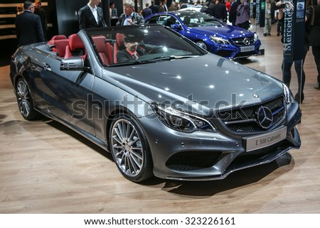 FRANKFURT - SEPT 15: Mercedes Benz E 500 Cabriolet shown at the 66th IAA (Internationale Automobil Ausstellung) on September 15, 2015 in Frankfurt, Germany. - stock photo
