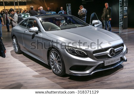 FRANKFURT - SEPT 16: Mercedes Benz S 500 4Matic Coupe shown at the 66th IAA (Internationale Automobil Ausstellung) on September 16, 2015 in Frankfurt, Germany. - stock photo
