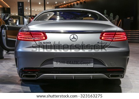 FRANKFURT - SEPT 15: Mercedes Benz S 500 4Matic Coupe shown at the 66th IAA (Internationale Automobil Ausstellung) on September 15, 2015 in Frankfurt, Germany. - stock photo