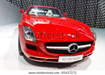 FRANKFURT - SEPT 24: Mercedes-Benz SLS AMG Roadster shown at the 64th IAA Motor Show (Internationale Automobil-Ausstellung) in Frankfurt, Germany, on September 24, 2011. - stock photo