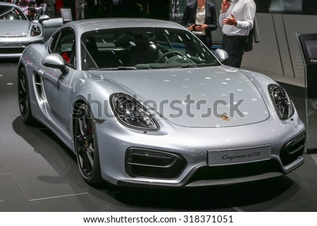 FRANKFURT - SEPT 16: Porsche Cayman GTS shown at the 66th IAA (Internationale Automobil Ausstellung) on September 16, 2015 in Frankfurt, Germany.