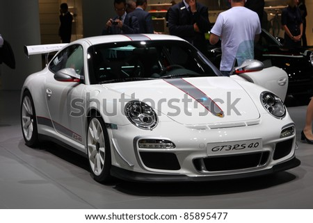 FRANKFURT - SEPT 13: Porsche GT3 RS 4.0 shown at the 64th IAA (Internationale Automobil Ausstellung) on September 13, 2011 in Frankfurt, Germany.