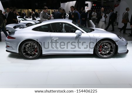 FRANKFURT - SEPT 10: Porsche 911 GT3 shown at the 65th IAA (Internationale Automobil Ausstellung) on September 10, 2013 in Frankfurt, Germany.