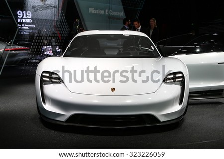 FRANKFURT - SEPT 16: Porsche Mission E Concept World Premiere shown at the 66th IAA (Internationale Automobil Ausstellung) on September 16, 2015 in Frankfurt, Germany. - stock photo