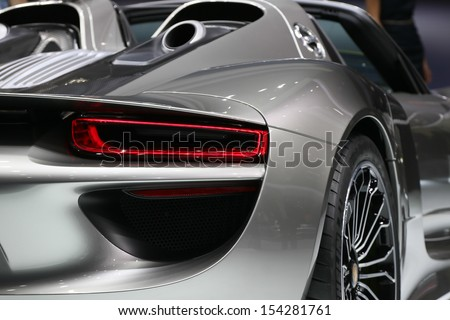 FRANKFURT - SEPT 10: Porsche 918 Spyder shown at the 65th IAA (Internationale Automobil Ausstellung) on September 10, 2013 in Frankfurt, Germany. - stock photo