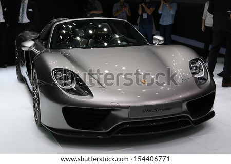 FRANKFURT - SEPT 10: Porsche 918 Spyder shown at the 65th IAA (Internationale Automobil Ausstellung) on September 10, 2013 in Frankfurt, Germany.