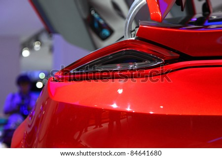 FRANKFURT - SEPT 13: Striking backlights of the Ford Evos Concept Car presented at the 64th IAA (Internationale Automobil Ausstellung) on September 13, 2011 in Frankfurt, Germany
