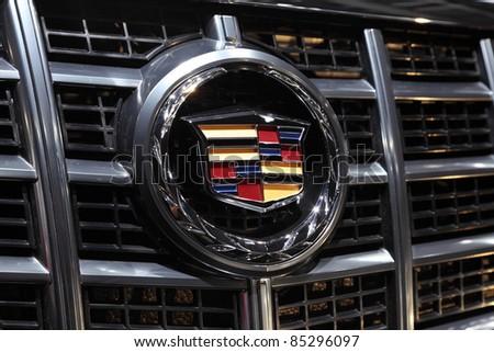 FRANKFURT - SEPT 24: The Cadillac Company Logo on display at the 64th IAA (Internationale Automobil Ausstellung) on September 24, 2011 in Frankfurt, Germany - stock photo