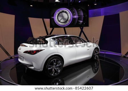 FRANKFURT - SEPT 24: The Infiniti Etherea Concept Car at the 64th IAA (Internationale Automobil Ausstellung) on September 24, 2011 in Frankfurt, Germany