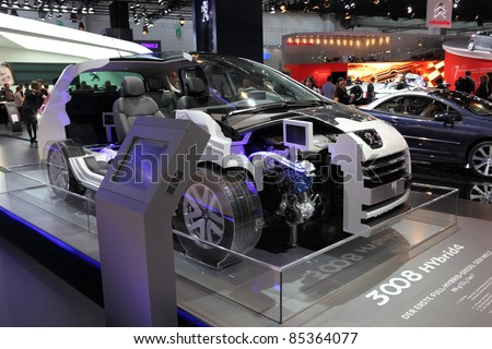 FRANKFURT - SEPT 24: The New Peugeot 3008 Hybrid4 Diesel Hybrid at the 64th IAA (Internationale Automobil Ausstellung) on September 24, 2011 in Frankfurt, Germany