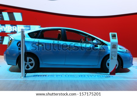 FRANKFURT - SEPT 10: Toyota Prius Plug-in Hybrid shown at the 65th IAA (Internationale Automobil Ausstellung) on September 10, 2013 in Frankfurt, Germany. - stock photo