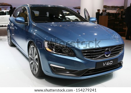 FRANKFURT - SEPT 10: Volvo V60 shown at the 65th IAA (Internationale Automobil Ausstellung) on September 10, 2013 in Frankfurt, Germany. - stock photo