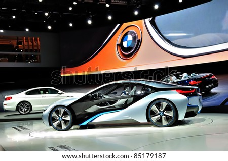 FRANKFURT - SEPTEMBER 18: BMW stand, cars shown at the 64th Internationale Automobil Ausstellung (IAA) on September 18, 2011 in Frankfurt, Germany.