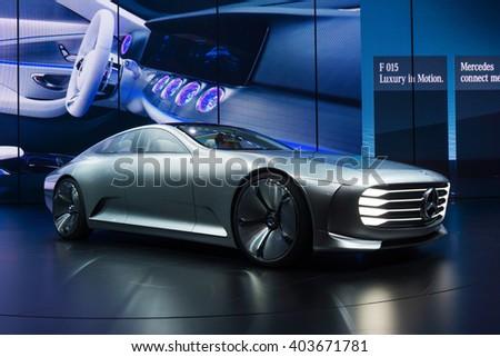 FRANKFURT - SEPTEMBER 22: Mercedes Benz F 015 Luxury. Mercedes-Benz is a German automobile manufacturer. September 22, 2015 in Frankfurt, Germany - stock photo