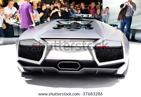 FRANKFURT - SEPTEMBER 15: One of twenty Lamborghini Revention based on the Lamborghini Murcilago LP 640 shown on 63rd IAA (Internationale Automobil Ausstellung) on September 15, 2009 in Frankfurt, Germany. - stock photo