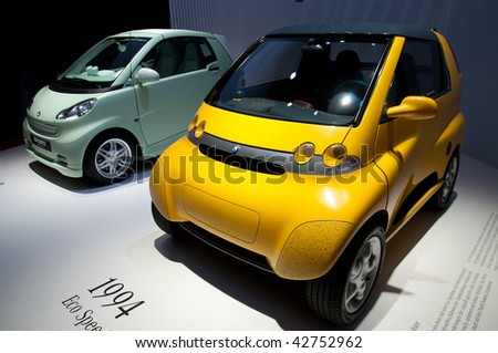 FRANKFURT - SEPTEMBER 20: SMARTs from Mercedes Benz from 1994 and 2009 at the 63rd IAA (Internationale Automobil Ausstellung) on September 20, 2009 in frankfurt, Germany - stock photo