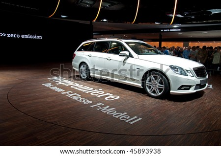 FRANKFURT - SEPTEMBER 20: The new E-class Mercedes Benz on the 63rd IAA (Internationale Automobil Ausstellung) on September 20, 2009 in Frankfurt, Germany
