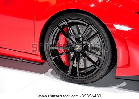 FRANKFURT - SEPTEMBER 18:Wheel detail of Lamborghini, car shown at the 64th Internationale Automobil Ausstellung (IAA) on September 18, 2011 in Frankfurt, Germany.