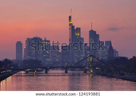 Frankfurt Skyline at Twilight, Germany. - stock photo