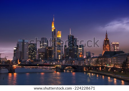 Frankfurt Skyline, Germany at night with famous skyscrapers - stock photo