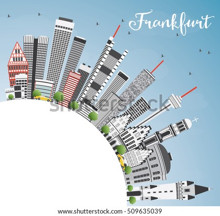 Frankfurt Skyline with Gray Buildings, Blue Sky and Copy Space. Business Travel and Tourism Concept with Modern Architecture. Image for Presentation Banner Placard and Web Site.