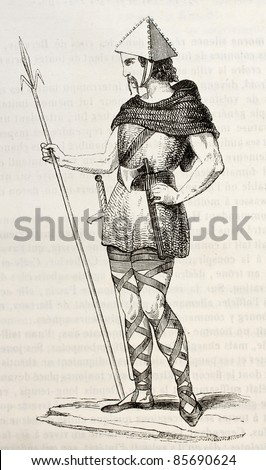 Frankish soldier of Charles Martel, old illustration. Created by Montlaucon, published on Magasin Pittoresque, Paris, 1842
