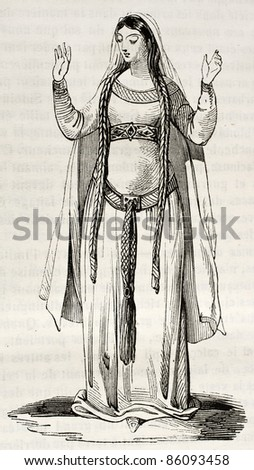Frankish woman old illustration. Created by Montfaucon, published on Magasin Pittoresque, Paris, 1842 - stock photo