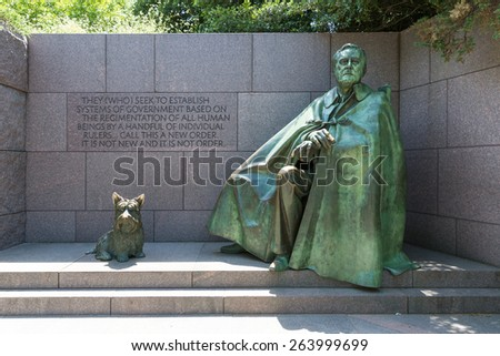 Franklin Delano Roosevelt Memorial with dog in Washington DC USA - stock photo