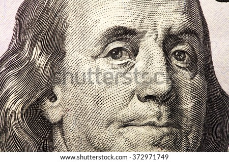 Franklin on one hundred dollar bill - stock photo