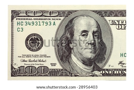 Franklin portrait on one hundred american dollar close up