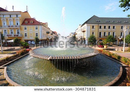 FRANTISKOVY LAZNE CZECH REPUBLIC - AUGUST 8 , 2015: This beautiful spa town, founded in 1793. City with mineral springs that attract many tourists wishing to improve their health. - stock photo