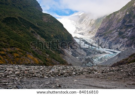 Franz Josef Glacier in Westland National Park of New Zealand's South Island. Southern Alps mountains.