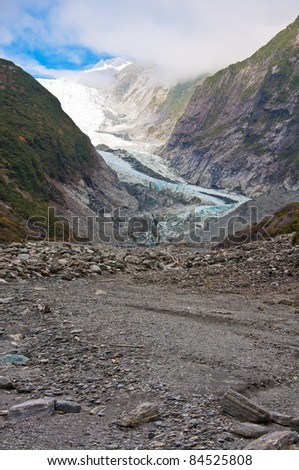 Franz Josef Glacier in Westland National Park of New Zealand's South Island. Southern Alps mountains. - stock photo