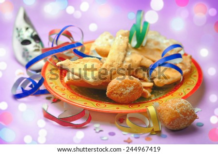 Frappe and castagnole - Traditional carnival pastries - stock photo