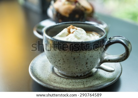 Frappuccino Coffee, Cup of Coffee with Cream - stock photo