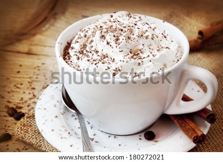 Frappuccino Coffee, Cup of Coffee with Cream and Chocolate Flakes,Italian Delicious Beverage - stock photo