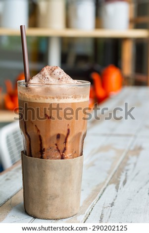 Frappuccino coffee , mocca with vintage style backgrounds - stock photo