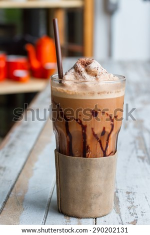 Frappuccino coffee , mocha with vintage style backgrounds - stock photo