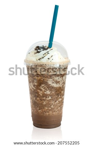 Frappuccino Ice with Cookie and Whip Cream - stock photo