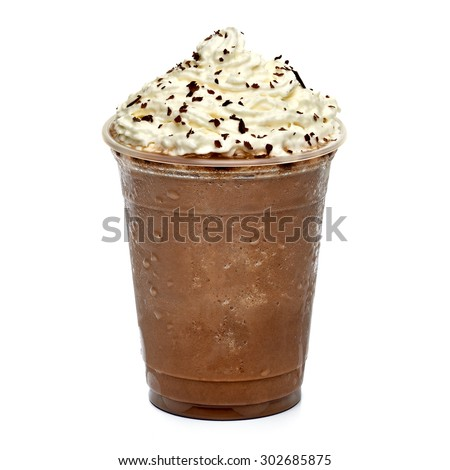 Frappuccino in takeaway cup isolated on white background - stock photo