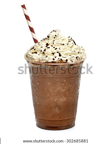 Frappuccino in takeaway cup with straw isolated on white background - stock photo