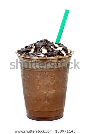 Frappuccino in takeaway cup with straw on white background  - stock photo