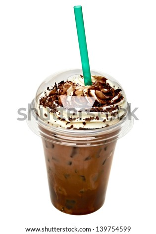 Frappuccino with sauced cream in take away cup isolated on white background - stock photo